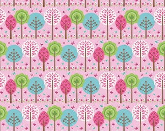 Riley Blake - Summer Song Pink Trees - Fabric by the Yard