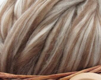 Mixed Shetland Wool Top Roving - Undyed Natural Spinning  & Felting Fiber / 1oz