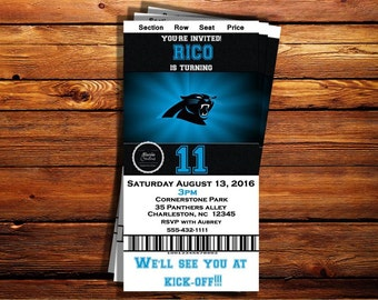 Carolina Panthers Ticket Birthday Invitation-Can be customized to any occasion