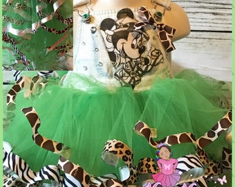 Safari minnie mouse ribbon trimmed custom overall tutu set
