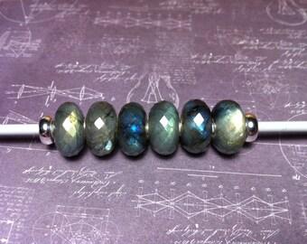 Natural Labradorite gemstone charmbead fit all european charm bracelets