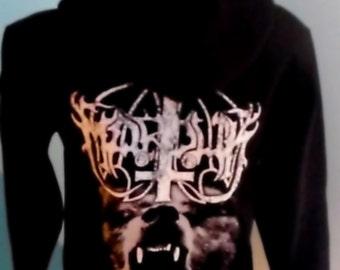 Marduk inverted cross wolf beast satanic black metal hoodie