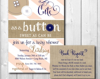 Baby Shower Invitation with Book Request Insert / DIGITAL FILES / printable / wording and colors can be changed