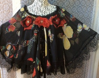 Butterfly Art to Wear Blouse Silk Upcycle Silk One Size (S, M, L, XL)