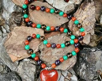 Jasper, Smokey Quartz , Amethyst and Malachite Necklace