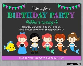 Little Mermaid Invitation, Mermaid Invitation, Little Mermaid Birthday Invitation, Under the sea Invitation