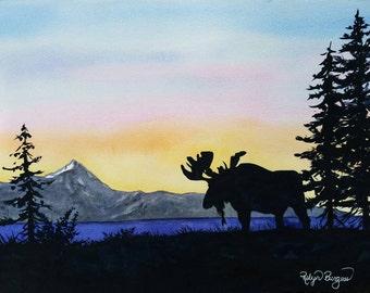 Alaskan Wilderness Sunset, Alaska Bull Moose original watercolor