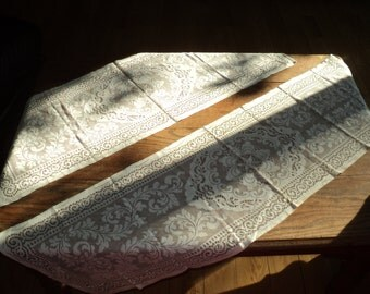 2 Vintage Lace Table Runners, Filet Lace Crochet Designed Table coverings in Very Good Condition in two different lengths with many uses