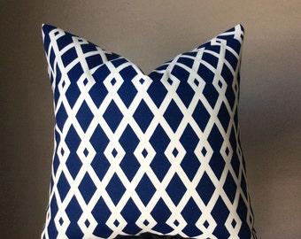 Outdoor pillow cover, blue white trellis pillow, geometric blue pillow cover