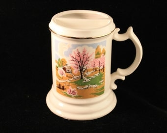 Vintage Mustache Mug, Porcelain Off White Coffee Mug Country Scene, Gold Trim