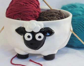 Black and white ceramic sheep yarn bowl