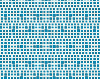 Bright Blue Little Squares Fabric - Squared Elements by Art Gallery - Cyan -  Fabric By the Half Yard