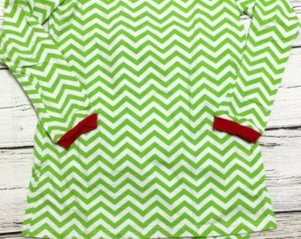 Childrens Lime / Red Striped Christmas Pajamas