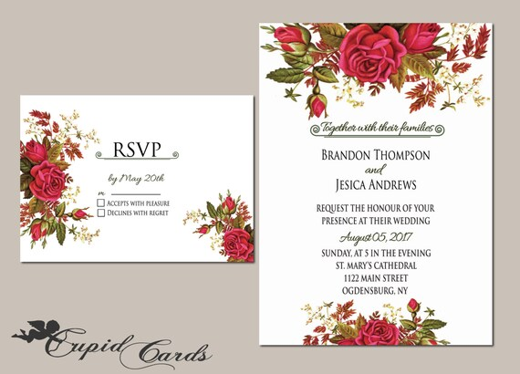 items similar to floral wedding invitation template