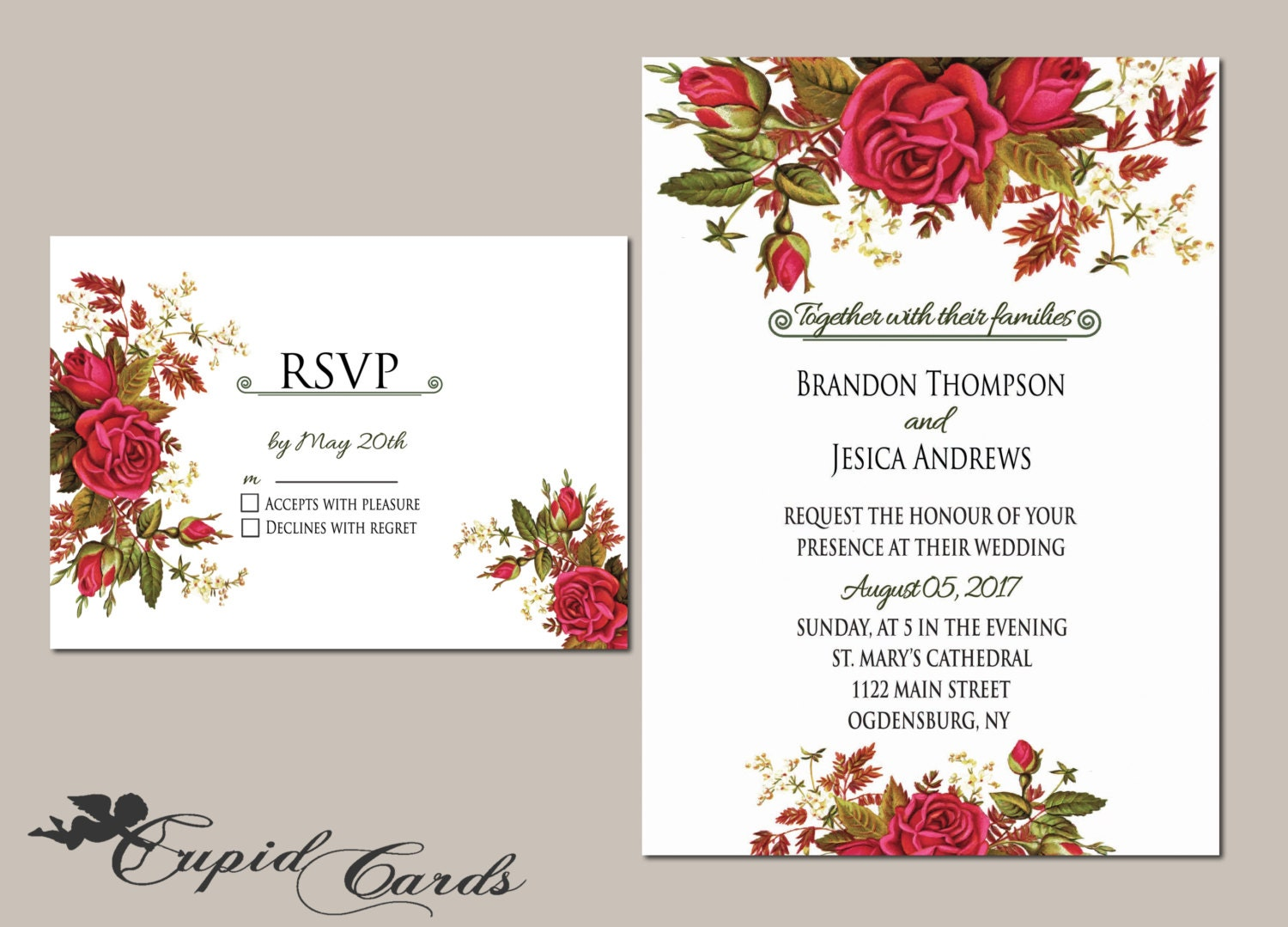 floral wedding invitation template editable by cupidcards With etsy editable wedding invitations