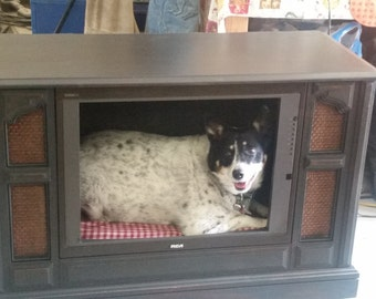 dog bed TV bed repurposed TV pet bed console TV