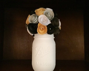Rustic Yellow/shades of Gray/White/Black Paper Rose Bouquet: In A Hand-Painted Cream Mason Jar