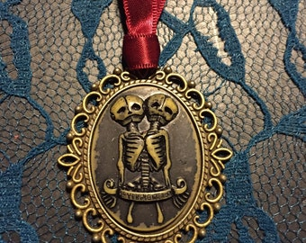 Siamese Twin Skeleton Cameo Necklace