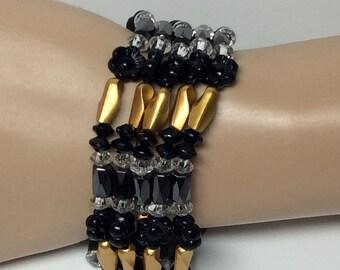 Gold, Clear and Black Floral Magnetic Bracelet, Necklace, Headband or Anklet