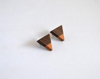 Black Walnut and European Beech Triangle Earrings