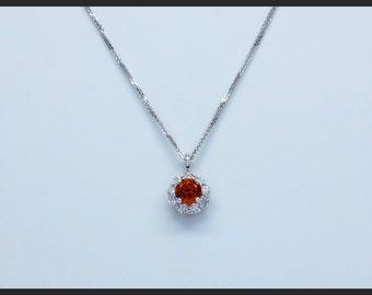 14K White Gold 1.23 Carat Round Spessartite Garnet and 0.46CTW Diamond Pendant