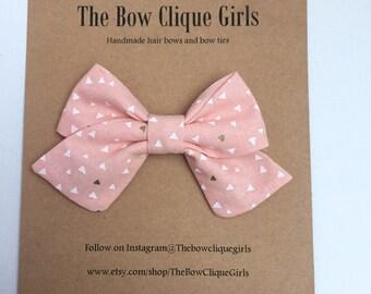 Whispering Pink sailor bow, Pink bows, sailor bows, baby bows, newborn headbands,baby bows, nylon band, bows on nylon band