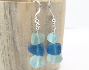 Blue Shades Natural Sea Glass Earrings - Wedding Beach Jewelry - Sea Glass Jewelry Bohemian Chic 925 Sterling Silver