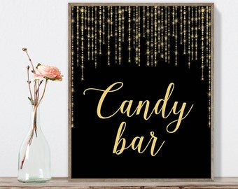 Candy Bar Sign DIY / Dessert Station / Gold Wedding Sign / Great Gatsby, Bokeh Light / Black and Gold Calligraphy ▷Instant Download JPEG