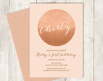 Rose Gold Birthday Invitation DIY / Gold Sparkle Glitter Invite / Metallic Gold and Coral / Thirtieth Birthday ▷ Printable Birthday Invite