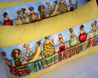 Beach Girls Fruit Ladies Pillow 14x8~