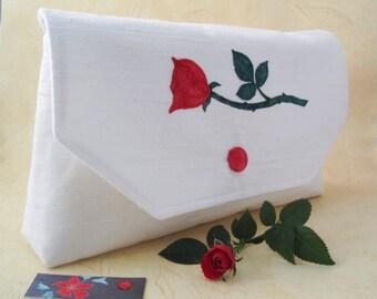 Red rose clutch bag, wedding purse, envelope purse, brides floral handbag, white cream fabric, floral applique, romantic gift for her