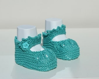 Jade Crib Shoes, Baby Girl Booties, Baby Girl Shoes, Cotton Crib Shoes, Hand Knit Booties, Newborn Booties, Baptism Shoes, Baby Shower