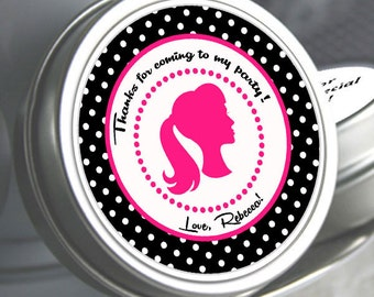 Birthday Favors - Personalized Barbie Doll Mint Tins, Glam Party Favors, Personalized Birthday Mint Tins, Barbie Decor, silhouette Favors