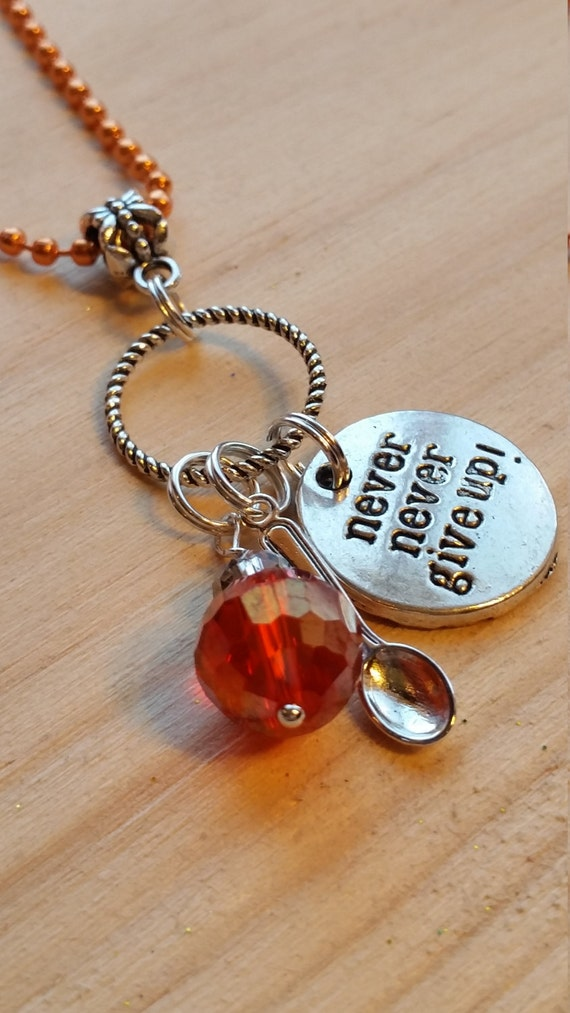 spoonie necklace artisan handmade orange chain and