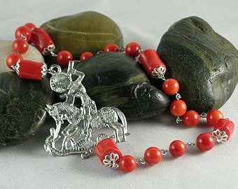 Sale! St. George Red Bamboo Coral Chaplet Paternoster Rosary