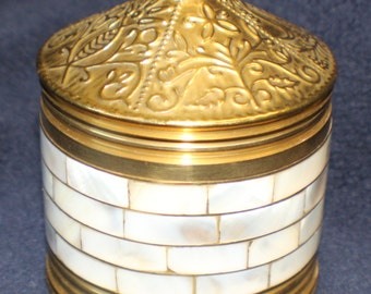 Mother of Pearl Solid Brass Round Trinket Box Ornate Container with Lid India Brass
