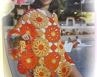 "Vintage 1970s Crochet Pattern Copy For A Lady's ""Sunflower"" Poncho, Great For Beachwear"