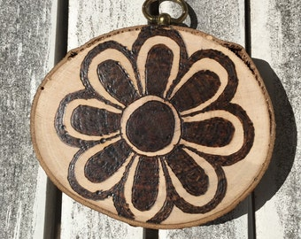 Flower sign, wall art, pyrography, flower ornament, christmas ornament, handmade christmas gift