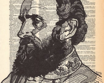 "Stonewall Jackson portrait done on an aged dictionary page containing the word ""stonewall"""
