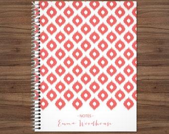 custom notebook journal / personalized lined notebook / blank notebook / spiral bound notebook / coral pink ikat tribal pattern