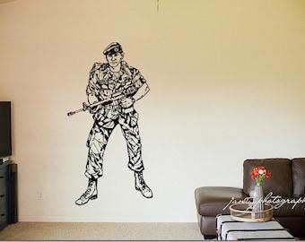 Wall Vinyl Sticker Decals Mural Room Design Pattern bedroom bedroom soldier uniform gun weapon brave boy nursery  bo2670