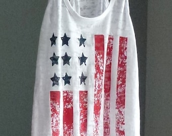 American Flag Tank Top. Patriotic Shirt. Exercise Tank. 4th of July. Red White and Blue. Running Tank. Fitness shirt. Burnout Workout Tank.