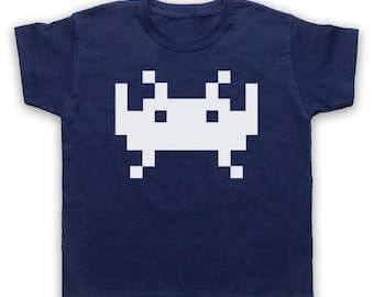 Space Alien Invaders Childrens Graphic Print Retro Video Arcade Game Inspired T-Shirt Tee