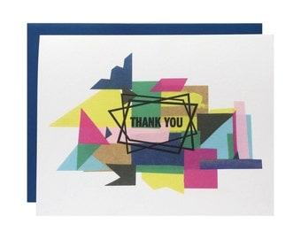 "Letterpress Thank You Card, ""Thank You"", Modern, Collage, Geometric"