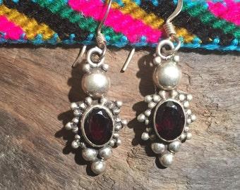 Garnet Earring-Sterling Silver Earring-Handmade Vintage Earring-Ethnic-Hippy-Gypsy-LV68