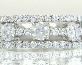 Vintage Estate 14K White Gold 1.00ct Genuine Diamond Band Ring 5.4g