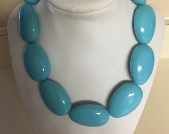 Large Turquoise  color Bead Neckace