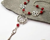 Red Jade Pentagram Necklace Goddess Pentacle Wiccan Jewellery Wicca Witch Pagan Accessories Gaia Gothic Necklace Goth