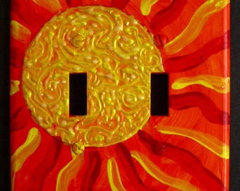 Hot Fiery Sun double switchplate