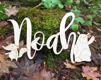 Wooden Wall Decor - Whimsical Name Plaque